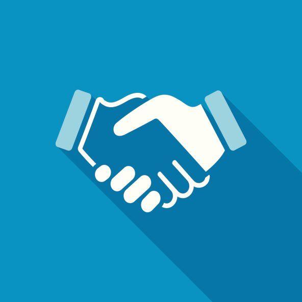 blue handshake background