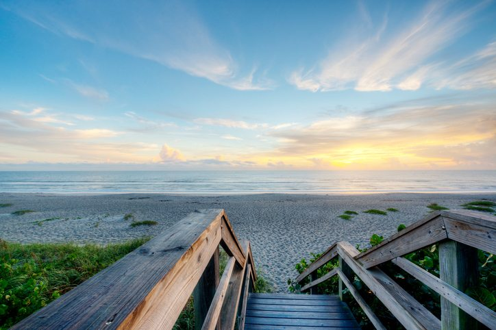 Boardwalk to Beach at Sunrise in Indialantic.