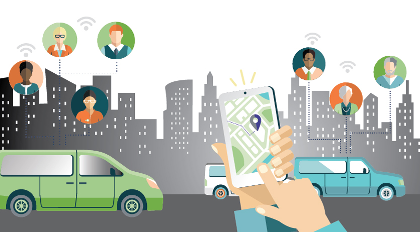 A hand holds a mobile device demonstrating NEMT technology with icons of cars and people in the background.