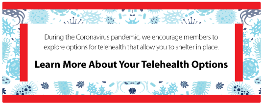 During the Coronavirus pandemic, we encourage members to explore options for telehealth that allow you to shelter in place. Learn more about your telehealth options.