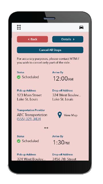 Ride cancellation mobile screen