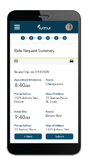 Request a ride mobile screen