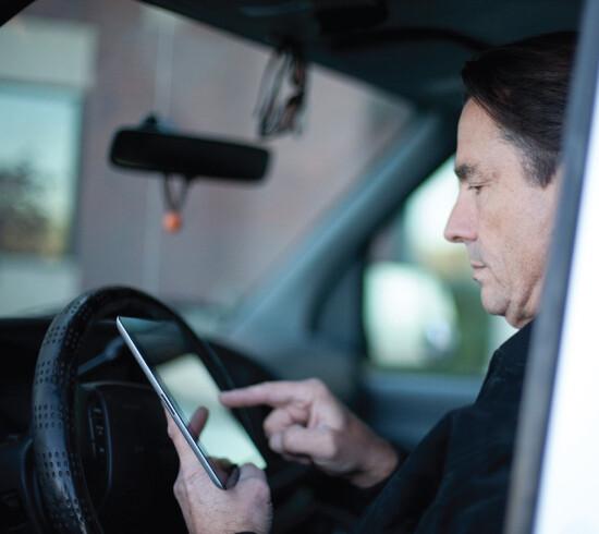 Driver using phone app