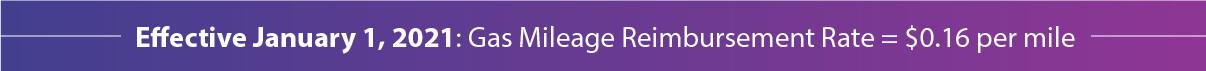 Effective June 1: Gas Mileage Reimbursement Rate = $0.17 per mile